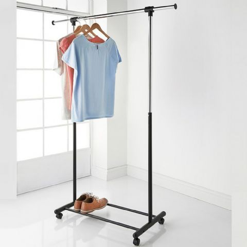 Height Adjustable & Extendable Single Tier Hanging Clothes Garment Rail